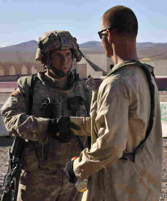 A man identified as Army Staff Sgt. Robert Bales (left) during a training exercise at the National Training Center in Fort Irwin, Calif.
