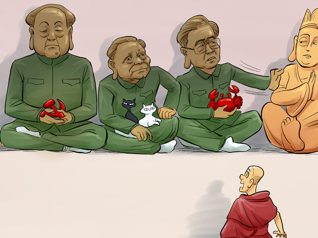 China's top Communist leaders, including Mao Tse-tung and Deng Xiao-ping, edge out Tibetan deities before a horrified Tibetan monk. This refers to the government's mandate that a photo of the leaders be placed in Tibetan monasteries at a time when monks continue to light themselves on fire to protest Chinese rule.