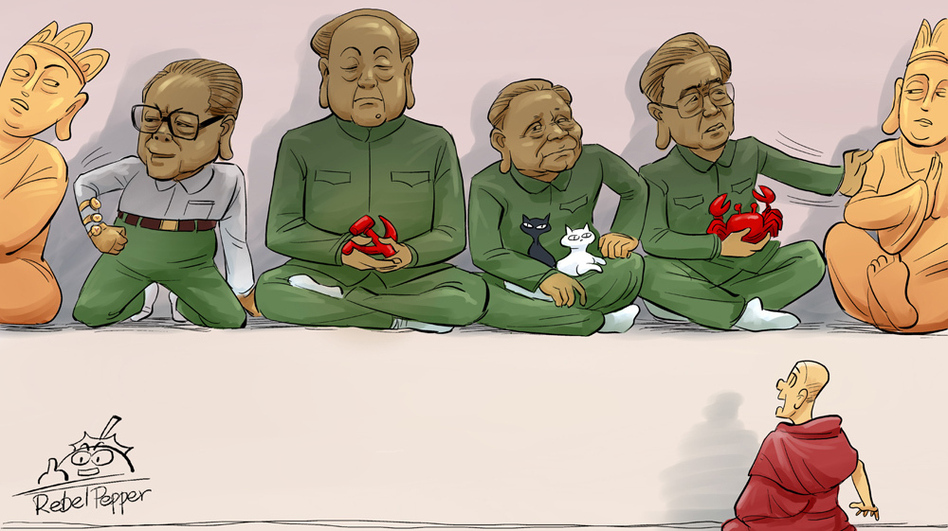 China's top Communist leaders, including Mao Tse-tung and Deng Xiao-ping, edge out Tibetan deities before a horrified Tibetan monk. This refers to the government's mandate that a photo of the leaders be placed in Tibetan monasteries at a time when monks continue to light themselves on fire to protest Chinese rule. (Courtesy Rebel Pepper)