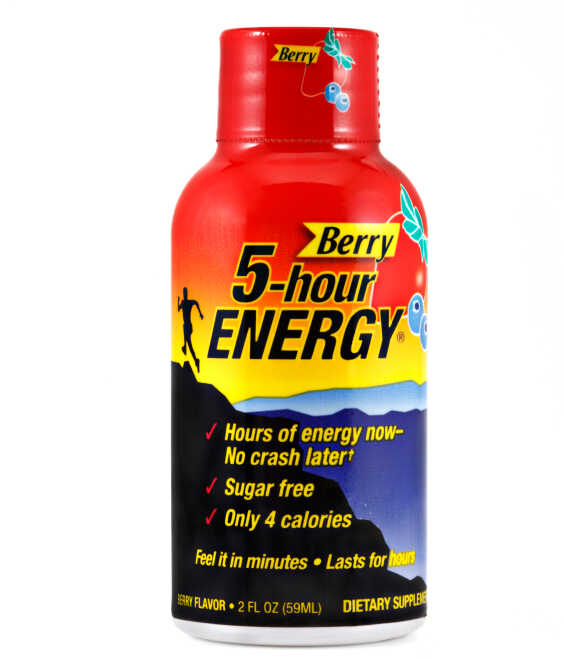 A bottle of 5-Hour Energy drink.