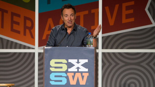 In a nearly hour-long address from the stage of the Austin Convention Center at South By Southwest, Bruce Springsteen spoke about his life as a musician and artists who influenced his career.