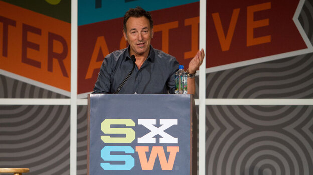 In a nearly hour-long address from the stage of the Austin Convention Center at South By Southwest, Bruce Springsteen spoke about his life as a musician and artists who influenced his career.  (SXSW)