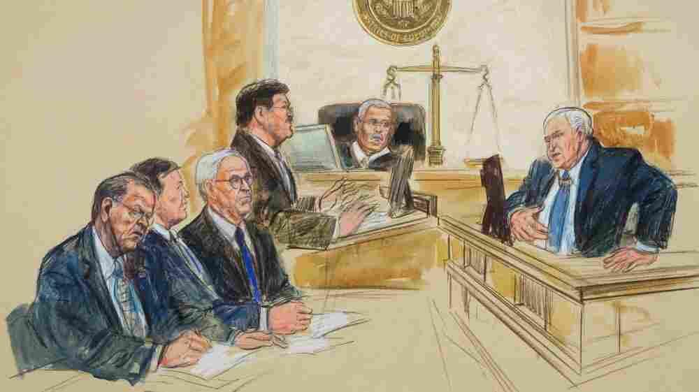 An artist's rendering of Alaska Sen. Ted Stevens' corruption trial. From left are Stevens, defense lawyers Rob Cary and Brendan Sullivan, prosecutor Joseph Bottini, Judge Emmet Sullivan and chief government witness Bill Allen.