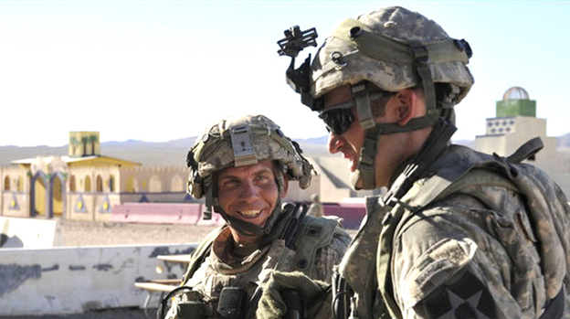 Staff Sgt. Robert Bales (left), the U.S. soldier who allegedly shot and killed 16 civilians in Afghanistan, at the National Training Center in Fort Irwin, Calif., on Aug. 23. (AFP/Getty Images)