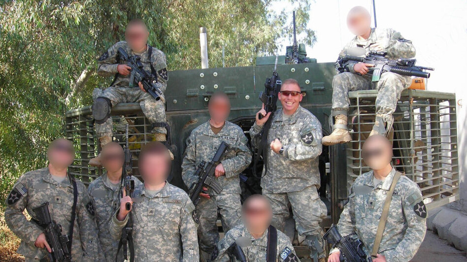 Then-Capt. Brent Clemmer said Staff Sgt. Robert Bales distinguished himself as a team leader in Clemmer's C Company, 2nd Battalion, 3rd Infantry Regiment during the Battle of Zarqa, Iraq. The faces of the rest of Bales' squad have been obscured. (Courtesy Maj. Brent Clemmer)
