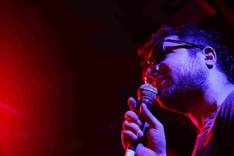 Psychedelic Hors---'s Matt Whitehurst sports some TV Party shades on stage at Red 7 on Saturday Night.