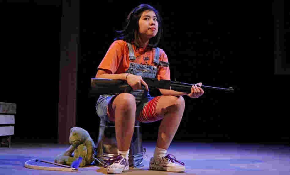 Isabella Dawis plays the protective 12-year-old Edith in the Mu Performing Arts production of Edith Can Shoot Things and Hit Them, by Rey Pamatmat.