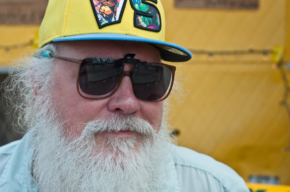 Yes, yes, this old dude at SXSW has some righteous facial hair, but what about that Wolverine vs. Hulk hat?! So stylin'.