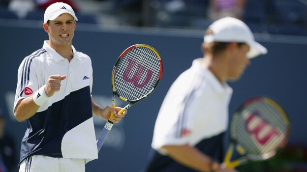 Brothers Bob and Mike Bryan celebrate a point during the 2003 U.S. Open.