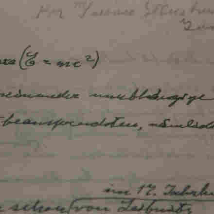 A detail from what is thought to be one of only three existing manuscripts containing Einstein's most famous formula about the relationship between energy, mass and the speed of light — in his handwriting.