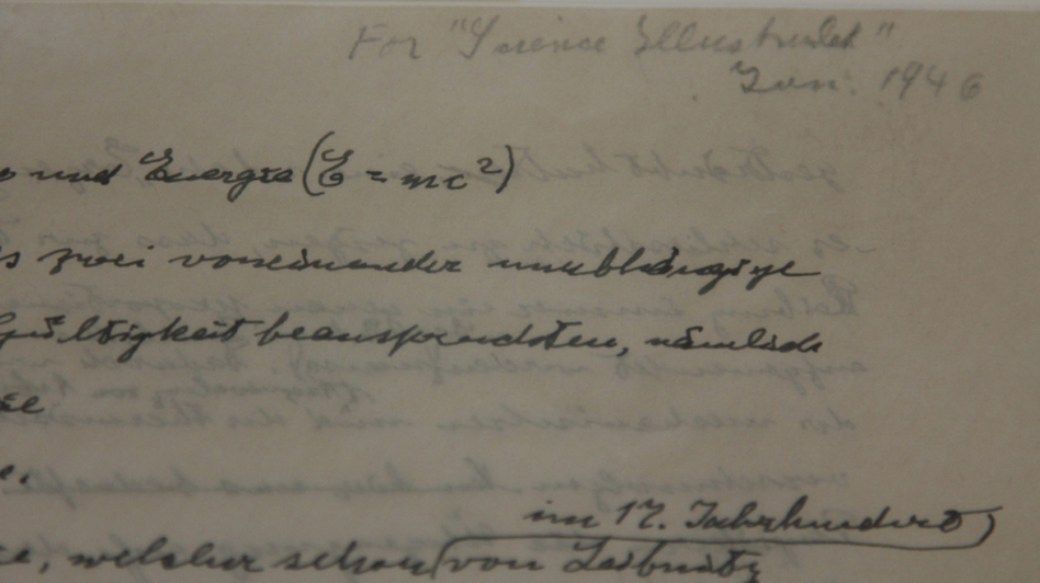 A detail from what is thought to be one of only three existing manuscripts containing Einstein's most famous formula about the relationship between energy, mass and the speed of light — in his handwriting.  (NPR)