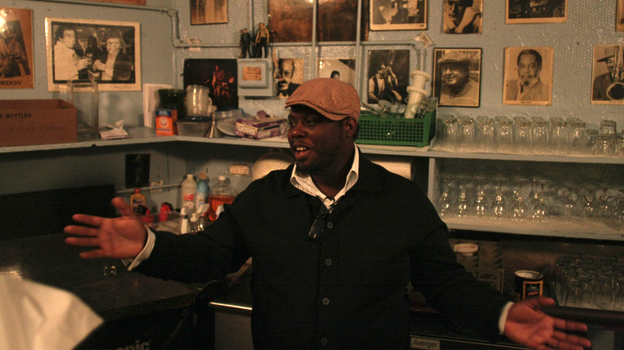 Drummer Johnathan Blake, pictured backstage at the Village Vanguard, has released a new album featuring Robert Glasper on three tracks. (johnrogersnyc.com)