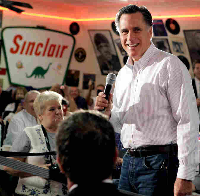 Republican presidential candidate Mitt Romney in Springfield, Ill., today.