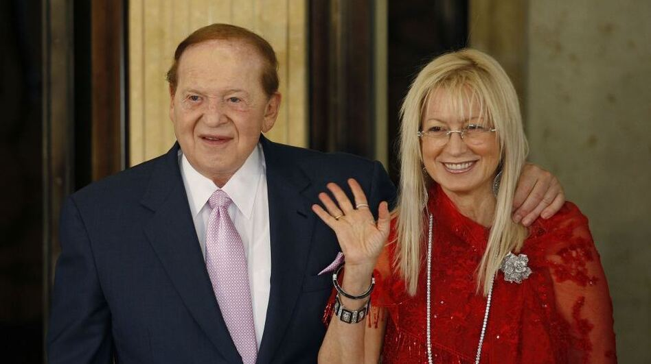 Sheldon and Miriam Adelson at the 2008 opening ceremony of the Four Seasons Hotel Macau in Macau. (Reuters/Landov)