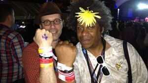 NPR Music's Bob Boilen and Keith Coes of WRLT in a 'wrist band smack down'