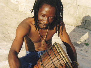 Zieti member Tiende Djos Laurent with drum.
