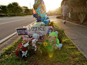 This photograph shows a memorial to Trayvon Martin at the Twin Lakes community where he was shot by neighborhood watch volunteer George Zimmerman. Zimmerman's claim of self-defense will be examined by a grand jury on April 10.