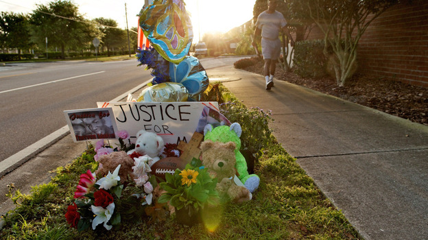 This photograph shows a memorial to Trayvon Martin at the Twin Lakes community where he was shot by neighborhood watch volunteer George Zimmerman. Zimmerman's claim of self-defense will be examined by a grand jury on April 10. (Getty Images)