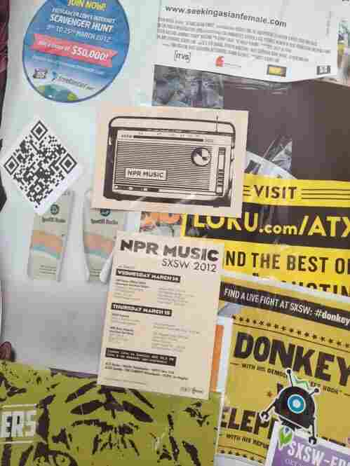 NPR Music makes its mark among a crowd of concert handbills.