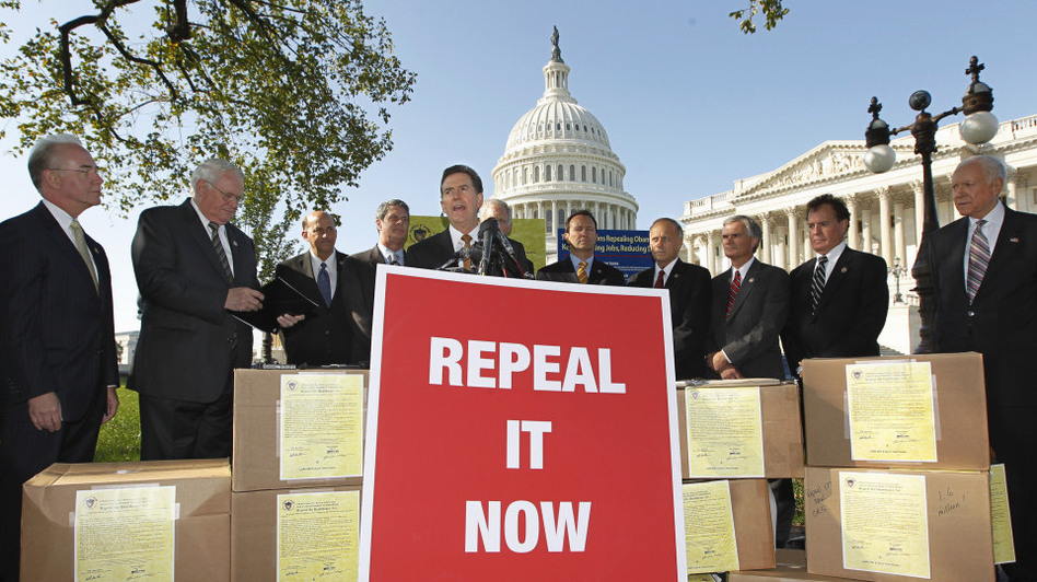Sen. Jim DeMint, R-S.C., center, joins other conservative lawmakers on Capitol Hill to criticize President Obama's health care law on Oct. 5, 2011.  They said the boxes were packed with petitions asking Congress to repeal the Affordable Care Act. (AP)