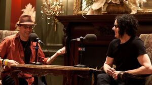 NPR Music's Bob Boilen talking with Jack White while at the SXSW Music Festival 2012