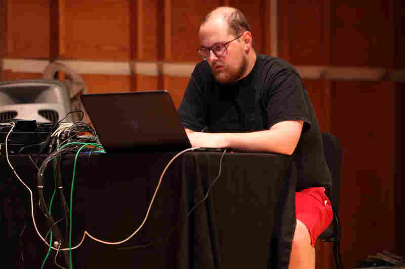 Dan Deacon rehearses his new concert piece, 'An Opal Toad with Obsidian Eyes,' with the NOW Ensemble and the Calder Quartet before its premiere at the Ecstatic Music Festival at New York's Merkin Concert Hall on March 20, 2012.