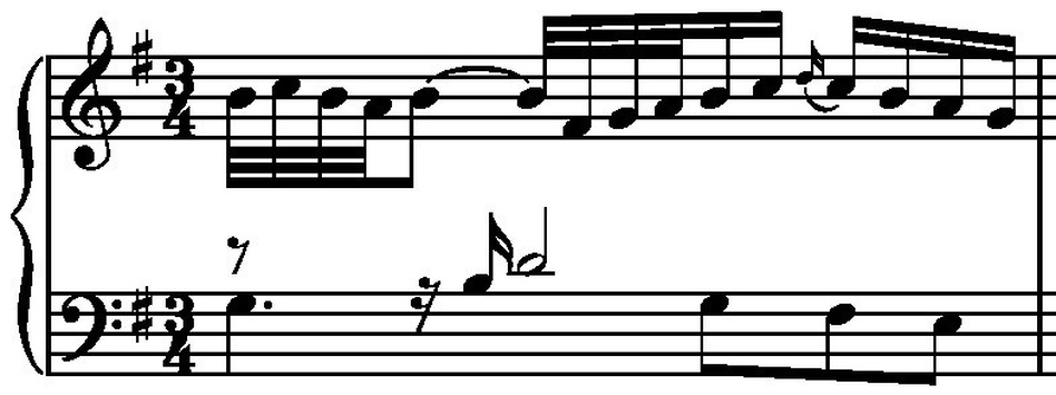 Variation No. 13 - first measure. (J.S. Bach)