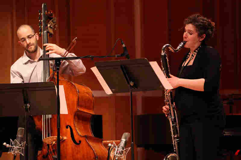 Bassist Peter Rosenfeld and clarinetist Sara Budde play Mark Dancigers' 'Cloudbank,' which opened the concert..