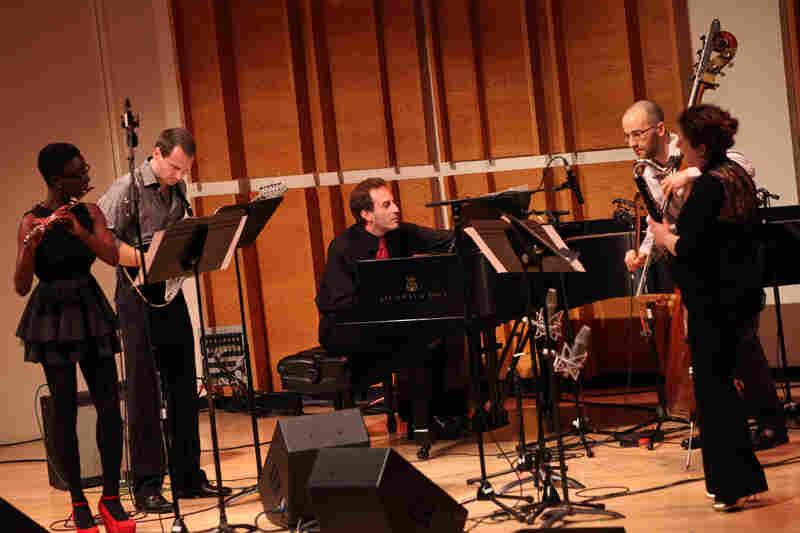 Members of the NOW Ensemble (flutist Nathalie Joachim, guitarist Mark Dancigers, Rosenfeld and Budde play Dancigers' 'Cloudbank.'.