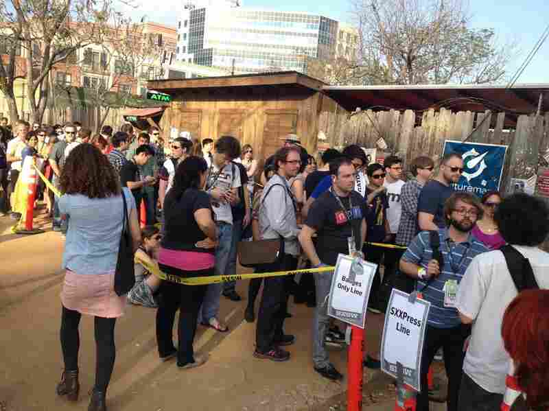 The line outside of the NPR Music SXSW Showcase Live from Stubb's.