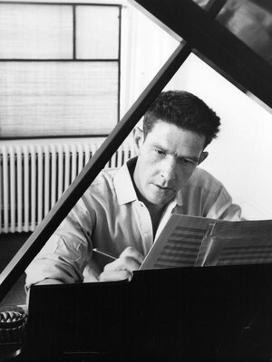"""American composer, John Cage, works at his piano in 1947. Marking the centennial of his birth, the Berliner Festispiele is exploring Cage's legacy under the theme """"Cage and Consequences."""""""