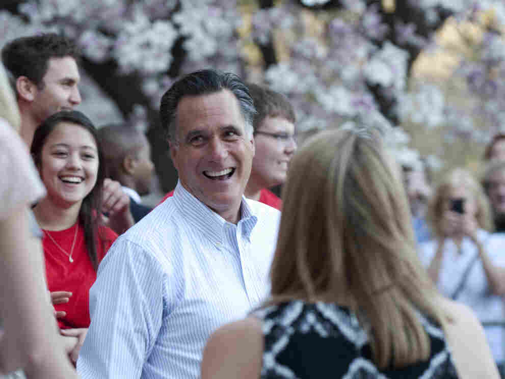 Mitt Romney talks with students March 19, 2012 at Bradley University in Peoria, Illinois.