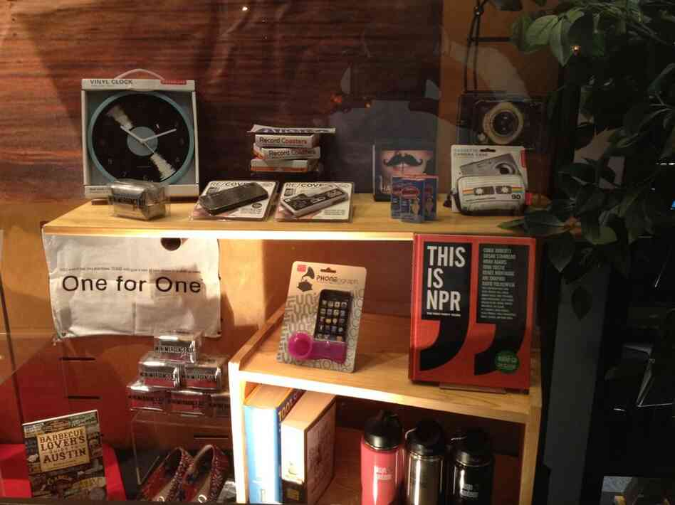 A local Austin retailer had the This is NPR: The First Forty Years  book on display.
