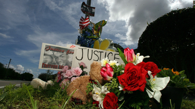 The makeshift memorial for slain teenager Trayvon Martin continues to grow daily outside of the Retreat at Twin Lakes community in Sanford, Florida. (MCT/Landov)