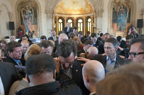Republican presidential candidate Rick Santorum is prayed over after speaking at the Bella Donna Chapel in McKinney, Texas, in February.