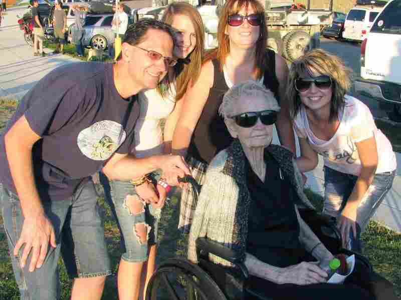 In this undated image provided by KSL TV, 101-year-old Mary Hardison of Ogden, Utah, is photographed with her family. Guinness World Records says Hardison is officially the oldest female to paraglide tandem.