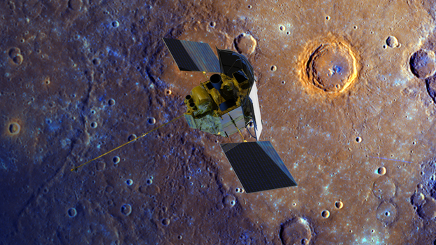 The Messenger spacecraft is depicted over the Calvino Crater on Mercury in this enhanced-color image of the planet's surface. (NASA/Johns Hopkins University Applied Physics Laboratory/Carnegie Institution of Washington)