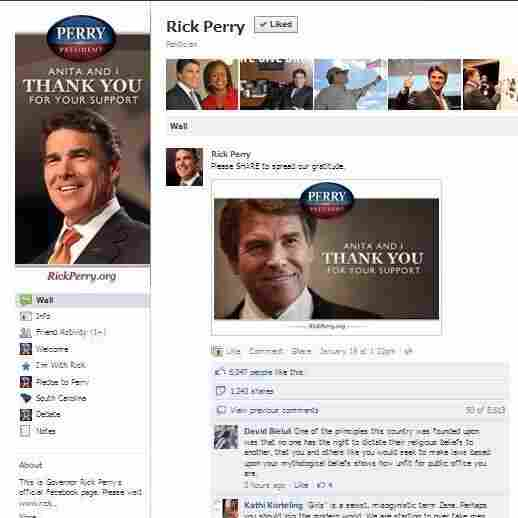Gov. Rick Perry's Facebook page, the scene of contention.