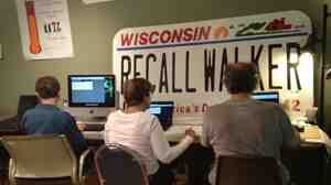 Volunteers at the Wisconsin Democratic Party's recall office in Waukesha