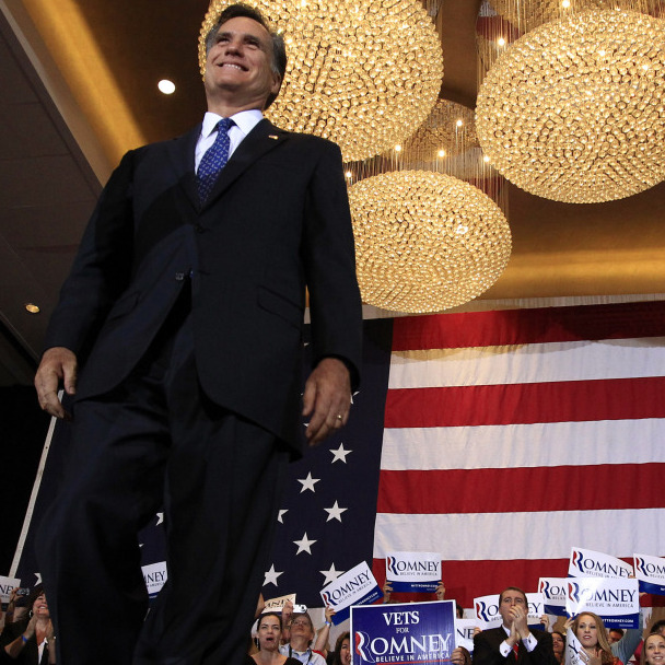 Mitt Romney arrives for his Illinois primary night rally in Schaumburg, Ill. Tuesday's win pushes him further down the road to the GOP nomination.