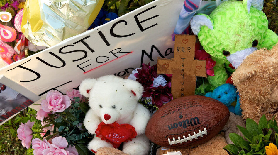 A memorial to 17-year-old Trayvon Martin outside the community in Sanford, Fla., where the teen was shot. (Getty Images)