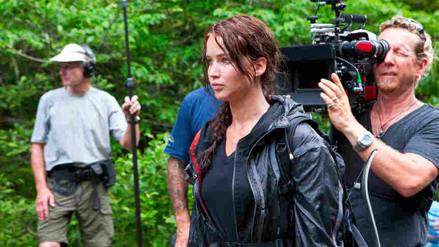 Jennifer Lawrence on the set of The Hunger Games.