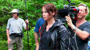 Jennifer Lawrence on the set of The Hunger Games.