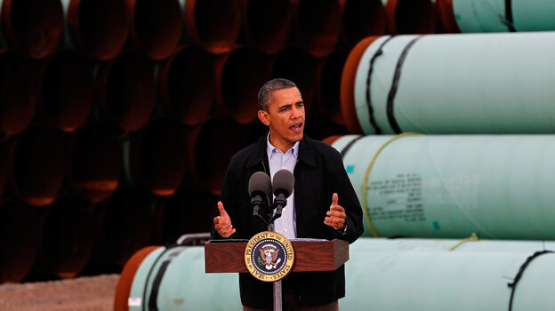 President Obama announces support for building an oil pipeline from Oklahoma to Texas, Thursday in Cushing, Okla.