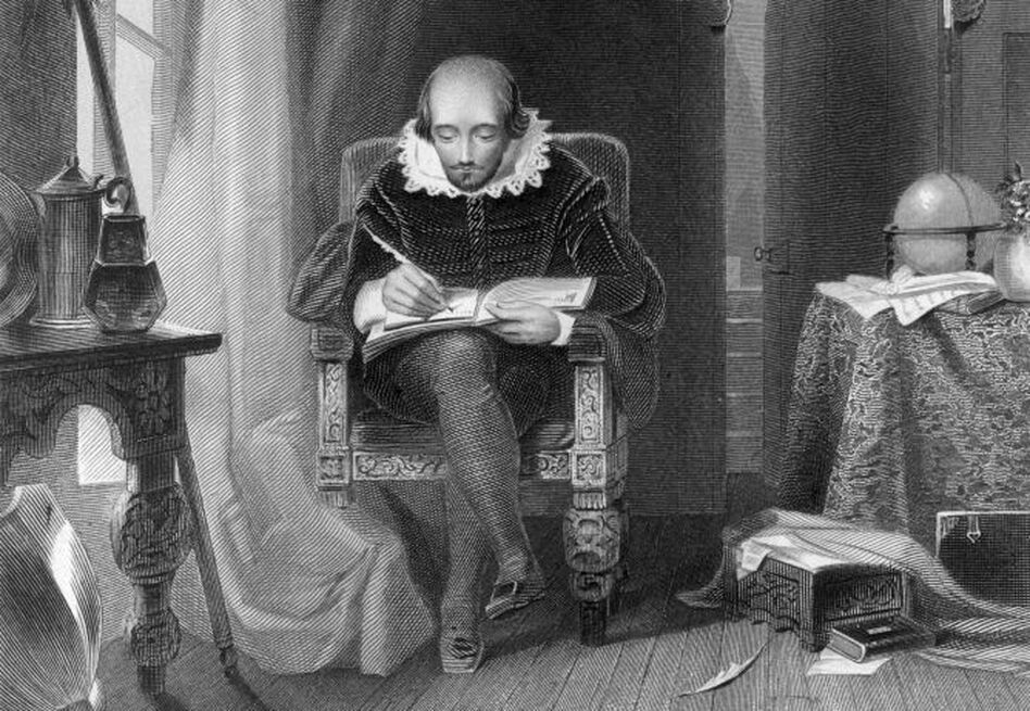 How were William Shakespeare's words pronounced more than 400 years ago? A new recording from the British Library aims to replicate the authentic accent of Shakespeare's day. Above, a depiction of the dramatist at work in his study, by A.H. Payne. (Edward Gooch/Getty Images)