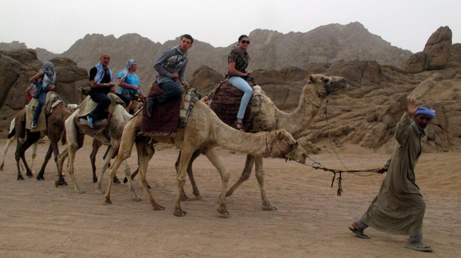 Tourists visit the desert near the Red Sea resort town of Sharm El-Sheikh, in Egypt's Sinai Peninsula, in February.
