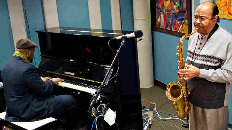 Benny Golson (right) and pianist Sharp Radway perform at the KPLU studios in Seattle.