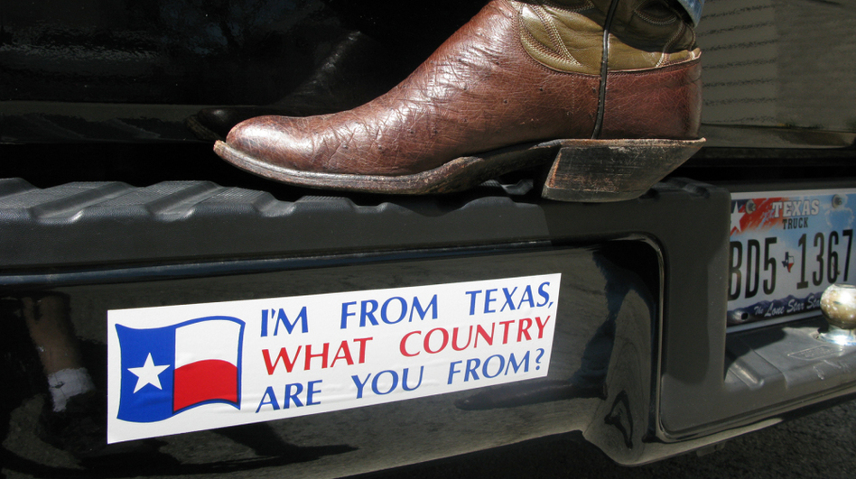 Driving around Texas, it's not uncommon to spot bumper stickers that tout the idea of an independent Longhorn nation.  (NPR)