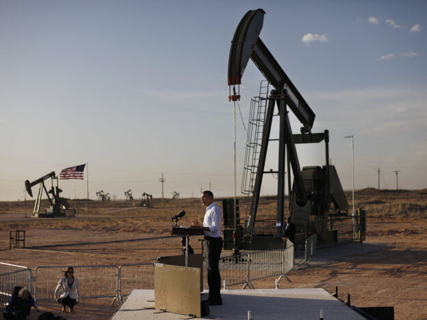 President Obama defends his energy policies, using as a backdrop an oil and gas production field on federal land in New Mexico, Wednesday, March, 21, 2012.