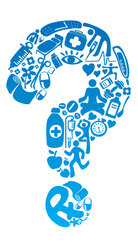 A question mark made up of health icons.